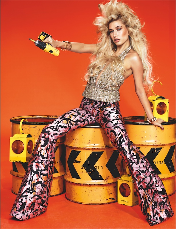 Hailey Baldwin gets glam in a construction themed shoot for Wonderland.
