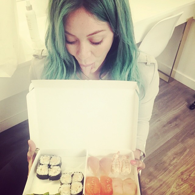 Duff posted another image of her blue hair with a sushi meal.
