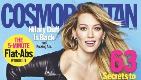 Hilary Duff lands the April 2015 cover of Cosmopolitan. She wears a leather crop top and sexy denim shorts.