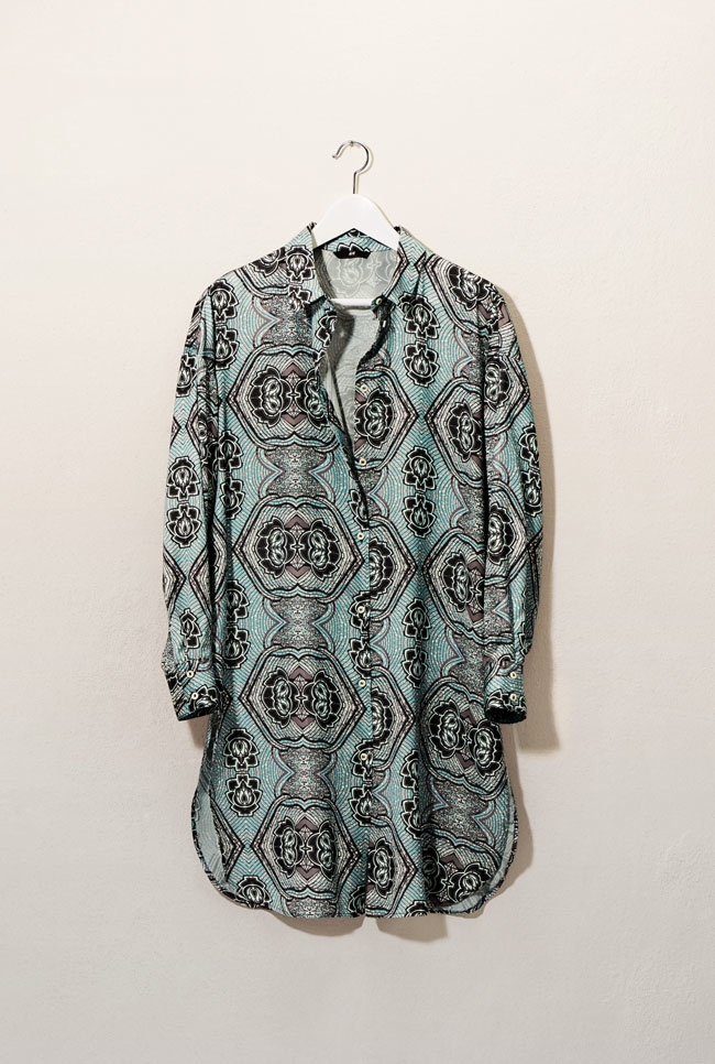 The brand also embraces bohemian prints and casual separates like with this blouse
