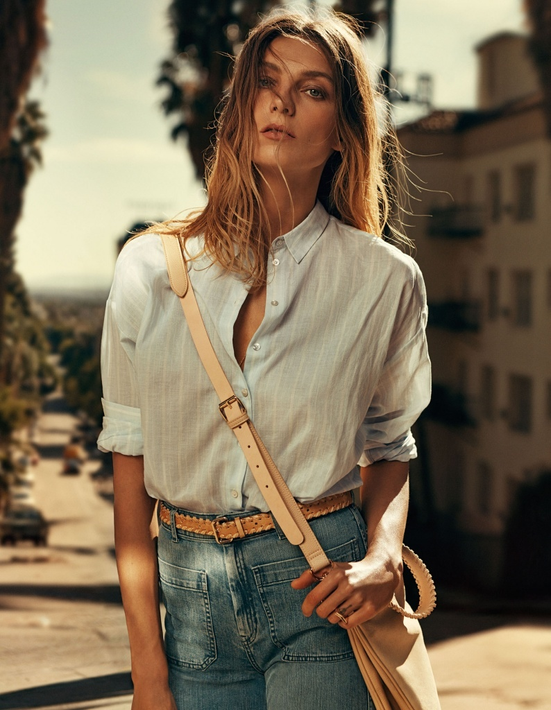 The Canadian model wears denim and casual shirts in the advertisements.