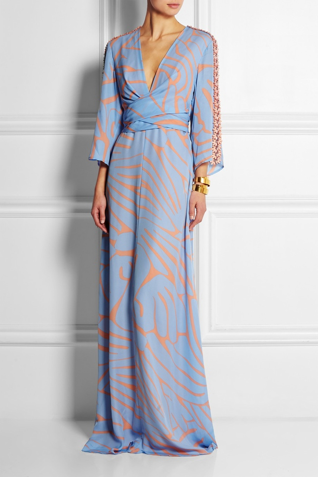 Issa's 'Francesca' printed silk-georgette maxi dress cuts a striking figure with its kimono sleeves and crustal embellishments. Dress available at Net-a-Porter.
