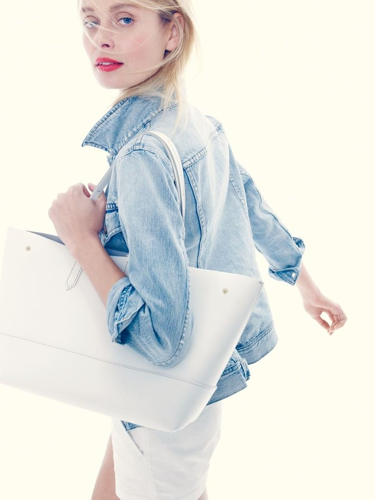 Inguna Butane models a denim jacket and tote from J. Crew