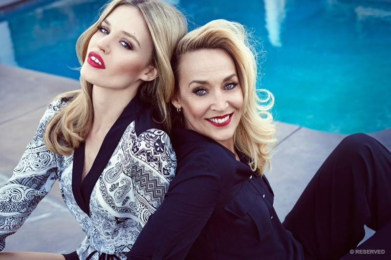 Georgia May Jagger and her mother Jerry Hall pose together for new fashion campaign.