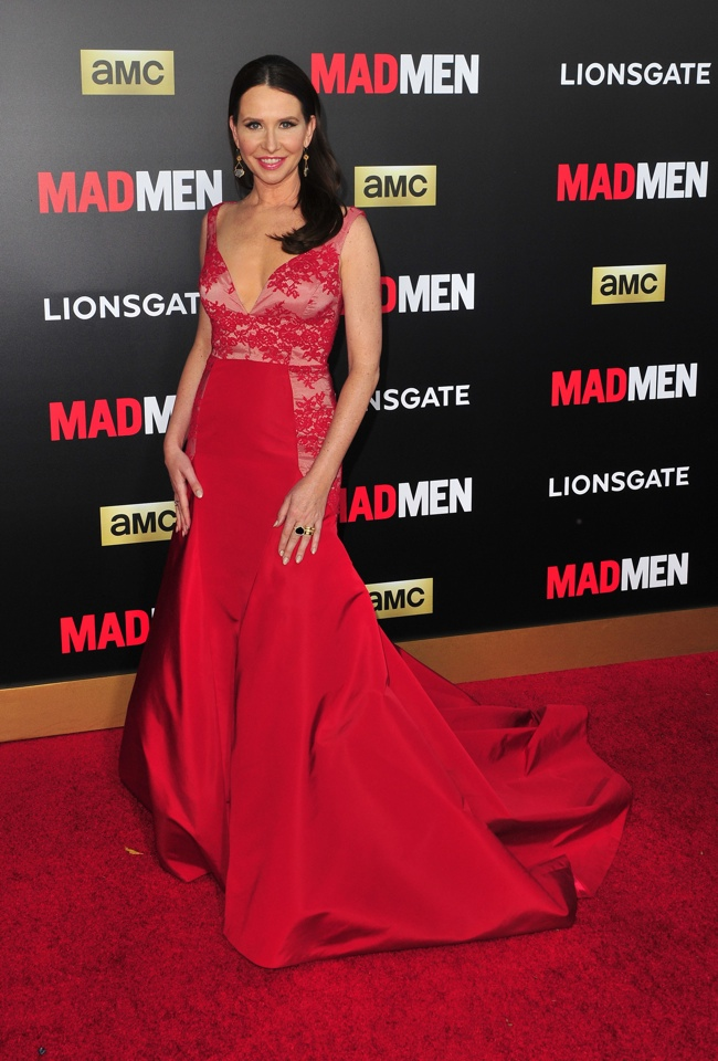 'Mad Men' costume designer Janie Bryant wore a custom Black Halo gown in red. Photo: Koi Sojer / PR Photos