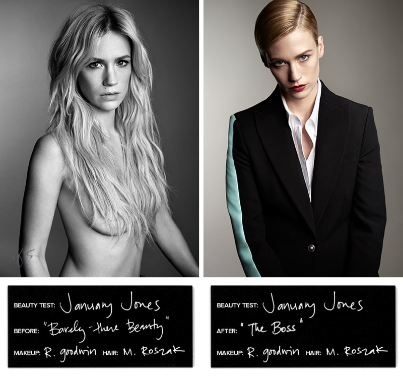 January Jones tries on six different beauty looks for Violet Grey feature