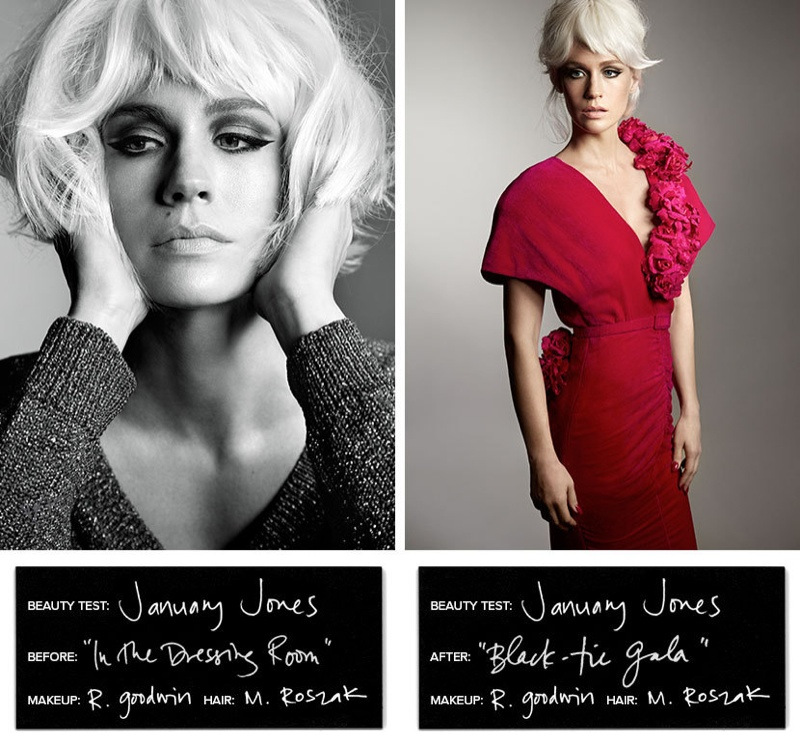 (L) January wears a short bob (R) The 'Mad Men' star models a fringed hairstyle