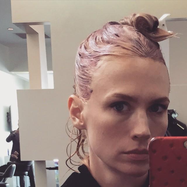 January Jones shared a selfie of her pink dye job on Instagram.