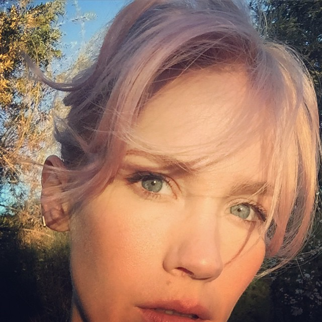 The final result of January Jones' pink hair transformation.