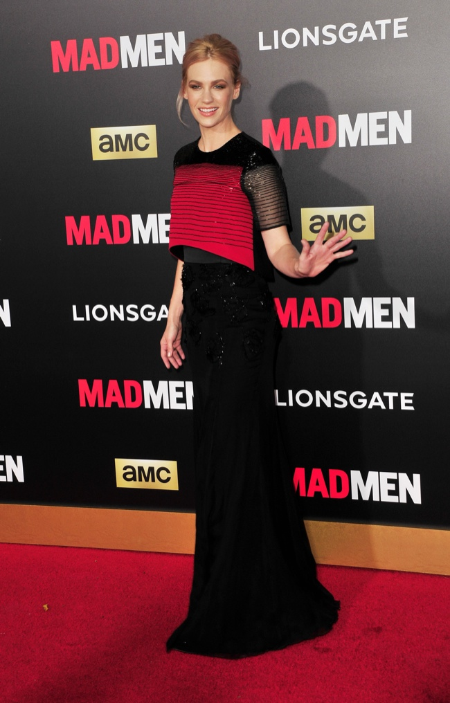 January Jones took on a red and black Prabal Gurung dress. Photo: Koi Sojer / PR Photos