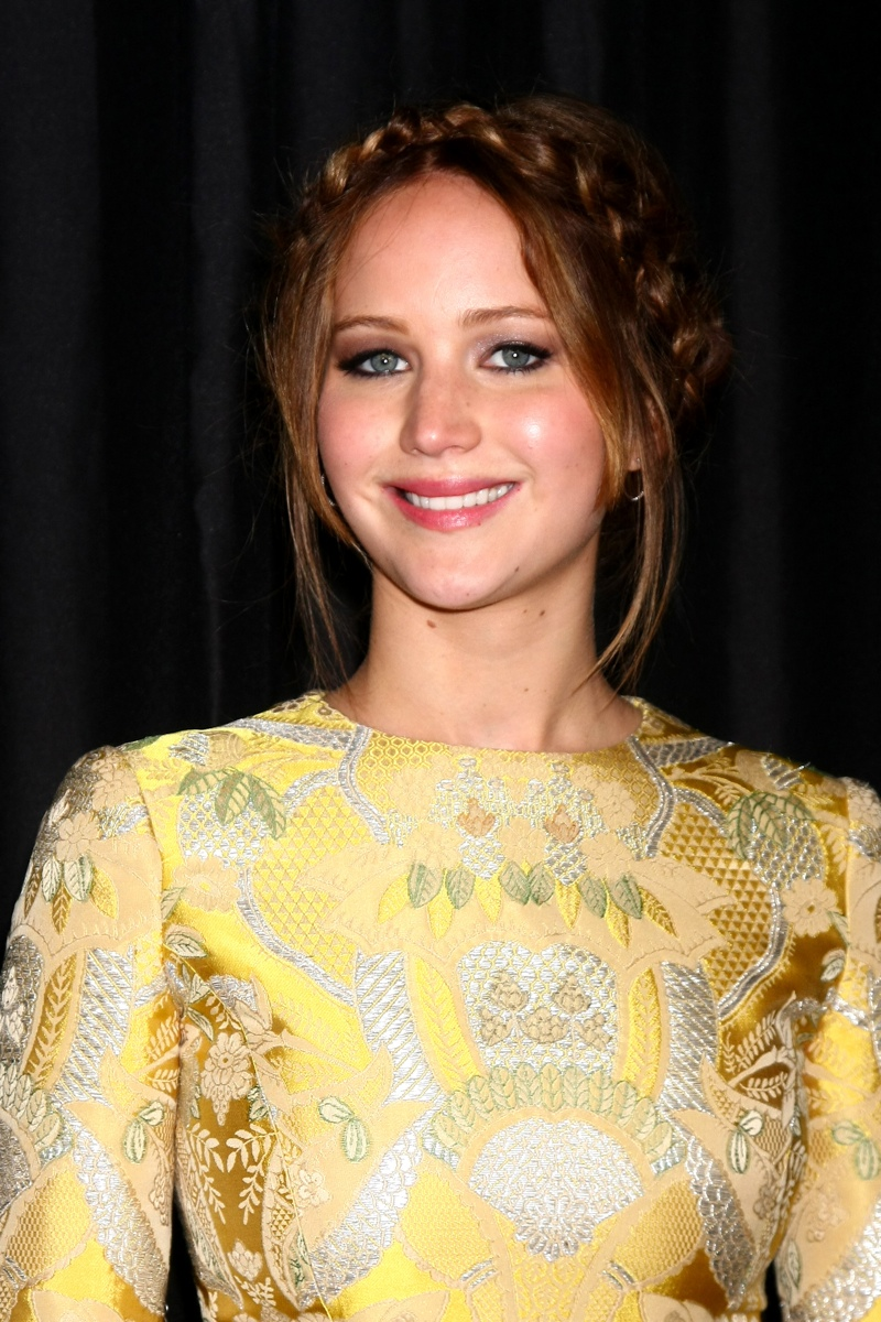 Jennifer Lawrence tried a braided, milk maid hairstyle in 2013 with a light brown shade. Photo: Shutterstock.com