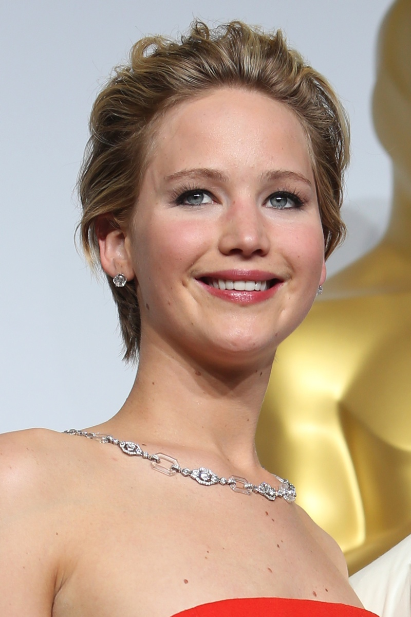 Still sporting short hair, Jennifer Lawrence showed off her growth in March 2014. Photo: Shutterstock.com