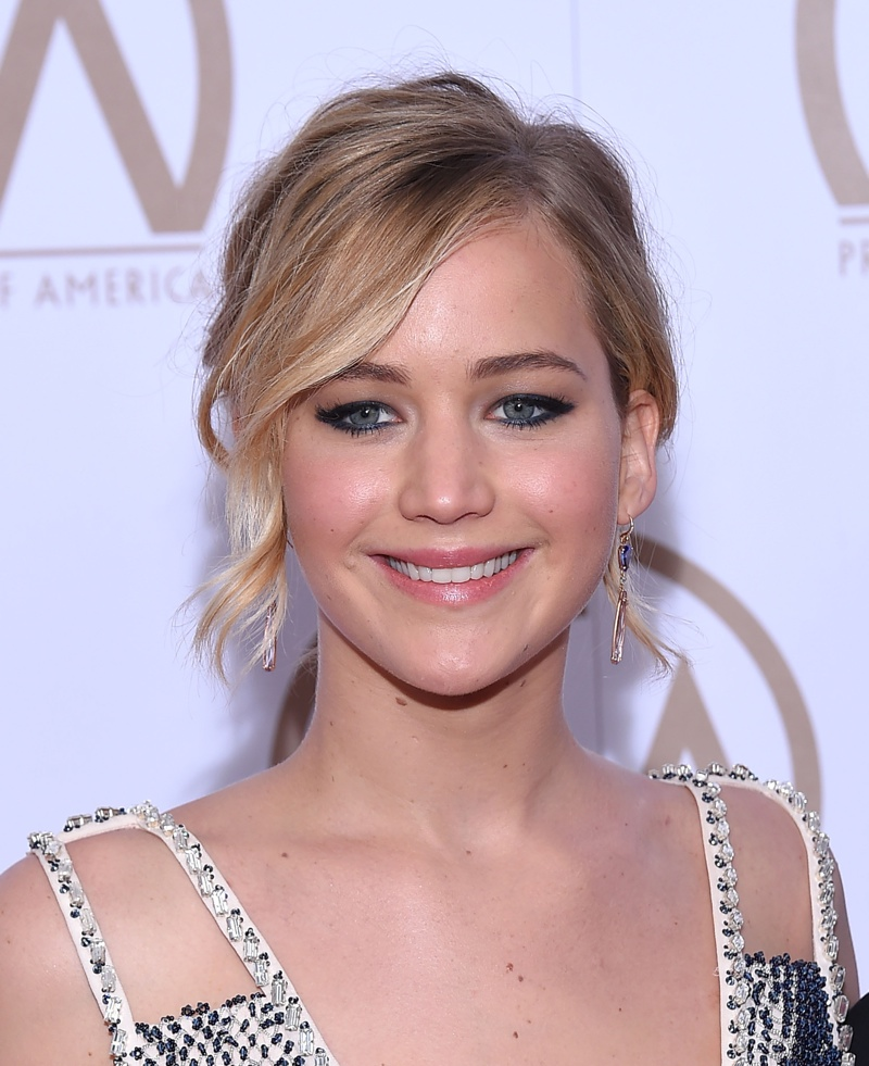 Here is Jennifer in January 2015 with a blonde wavy updo. Photo: Shutterstock.com