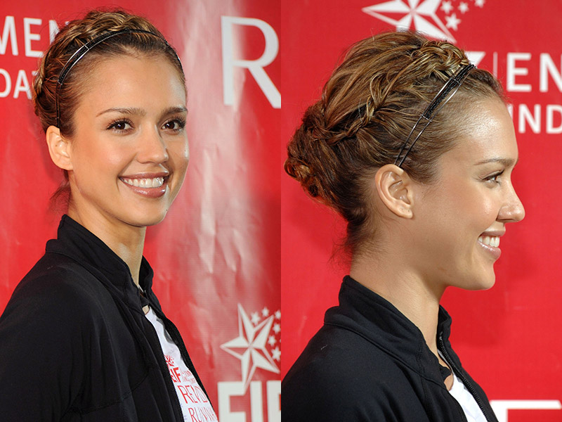 Jessica Alba tries on a messy braided hairstyle. Photo: Shutterstock.com