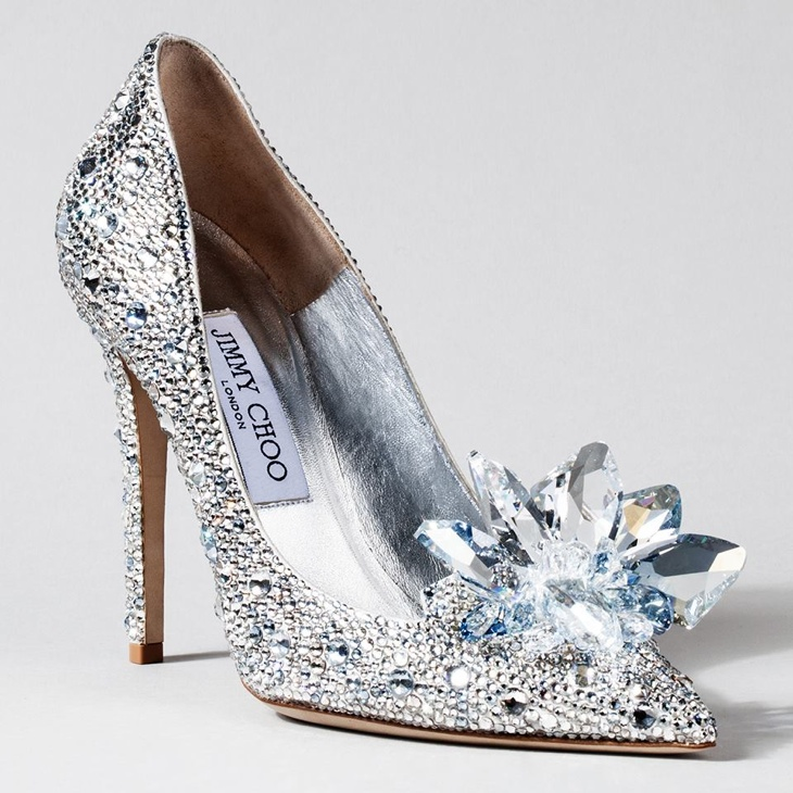 "Jimmy Choo creative director Sandra Choi created a sparkling shoe that was meant to have ""a feminine, timeless silhouette evoking those childhood emotions [of wanting a Cinderella moment]""."