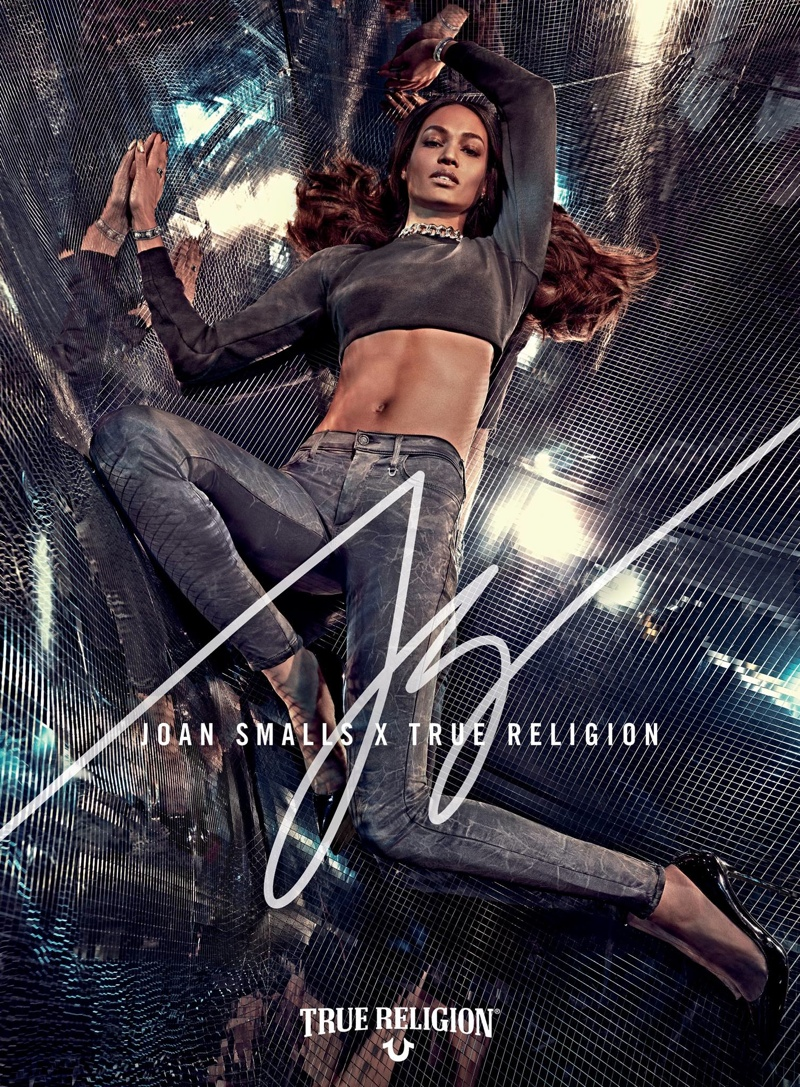 A campaign image from Joan Smalls' True Religion collaboration. The line is available to shop now in stores and online.