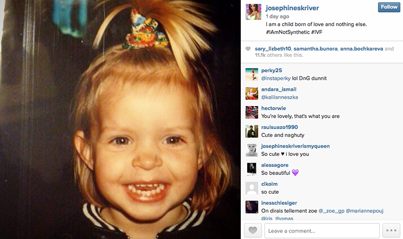 Model Josephine Skriver posted an image of herself as a child on Instagram, pointing to the Dolce & Gabbana controversy. Josephine is a child of IVF.