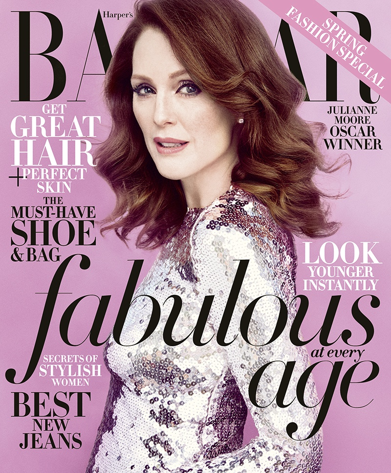 Actress Julianne Moore lands the April 2015 cover from Harper's Bazaar wearing a silver dress from Dior.