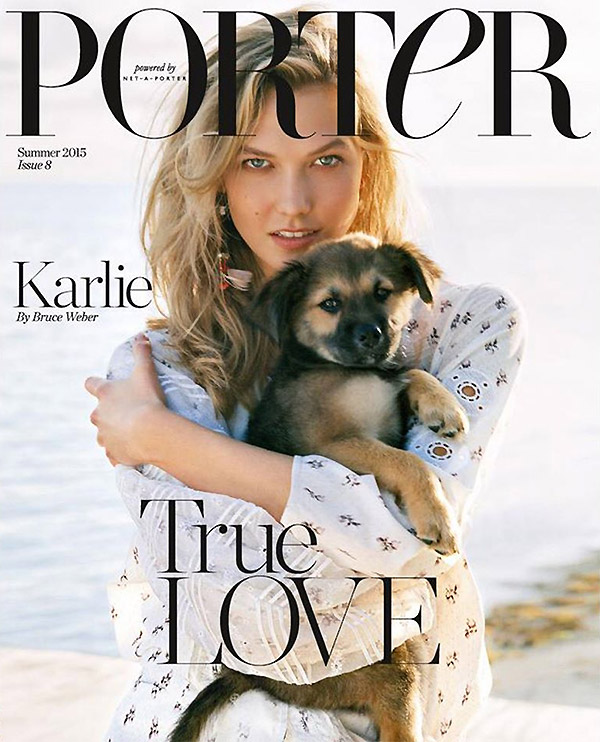 karlie kloss and a puppy cover porter magazine. Black Bedroom Furniture Sets. Home Design Ideas