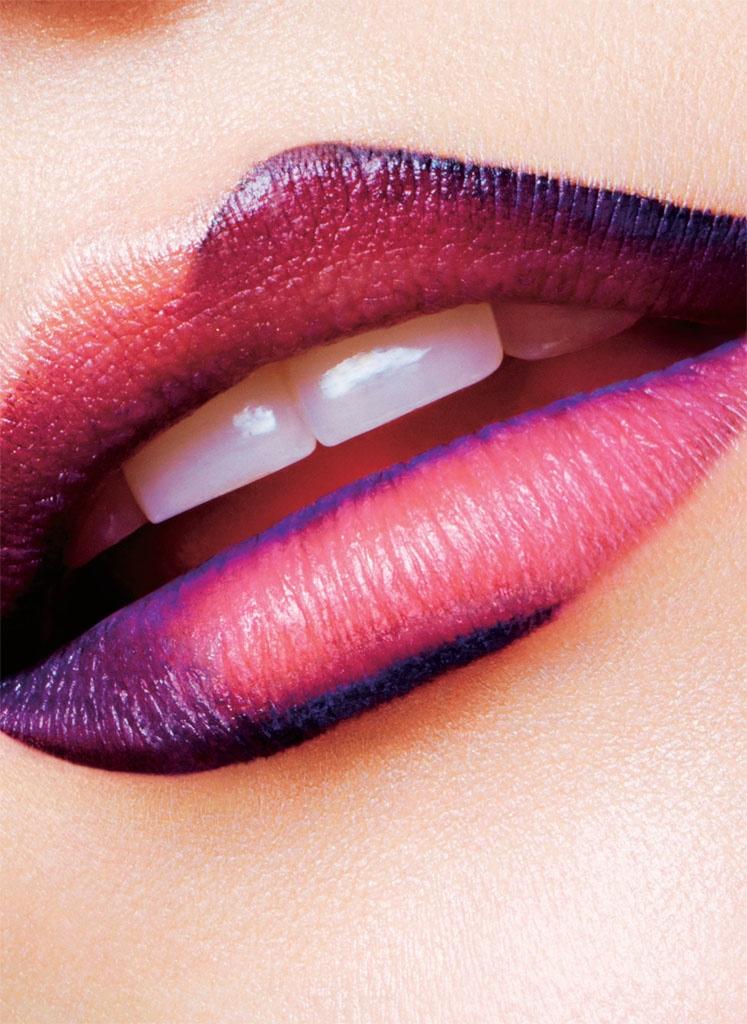 A closeup of Kasia's lips showcasing an ombre effect