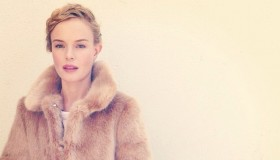 Actress Kate Bosworth wears a Shrimps faux fur coat in Instagram photo.