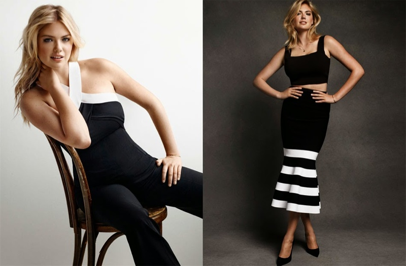 Wearing all black and white, Kate looks elegant as she models in the fashion shoot.
