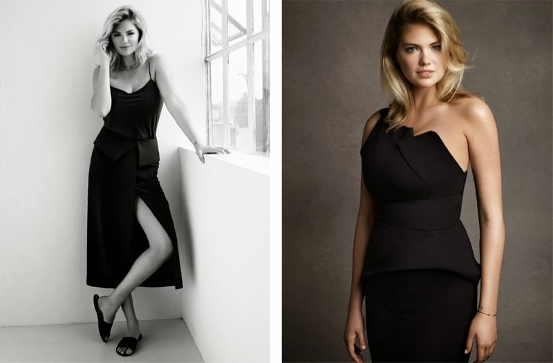In the fashion feature, Upton wears body-con looks from designer brands.