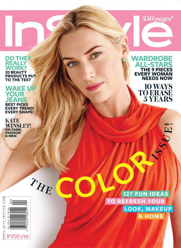 Kate Winslet graces the April 2015 cover of InStyle wearing a red dress.
