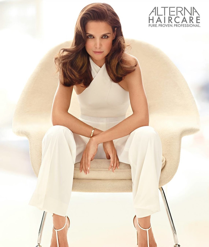 Katie Holmes sports bombshell waves in Alterna  Haircare campaign (2015).