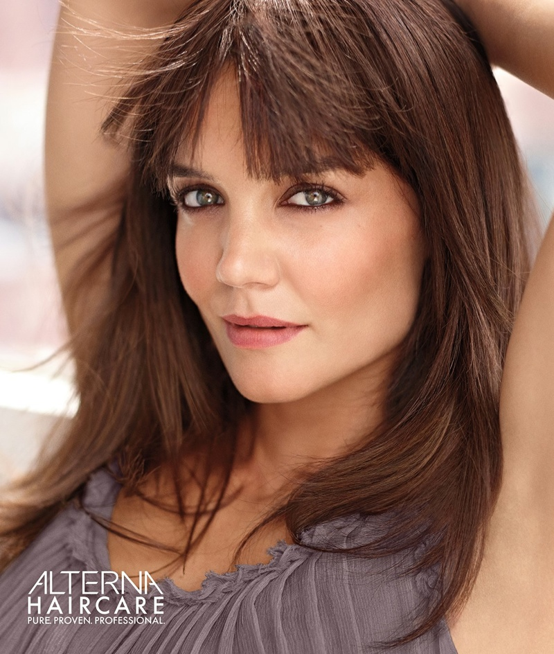 The actress sports blunt bangs in Alterna Haircare's latest advertisements.