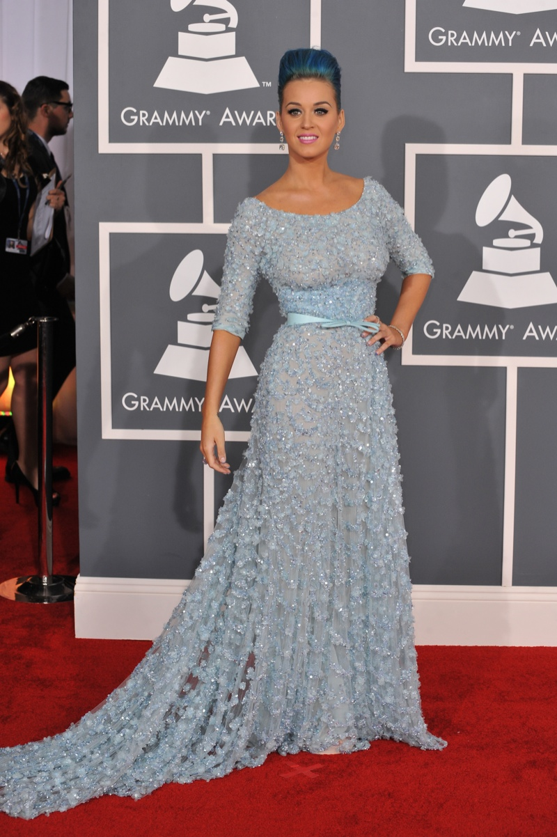 Katy Perry matched her blue hair with an Elie Saab Haute Couture Spring 2012 look at the 54th Annual Grammy Awards. Photo: Shutterstock.com