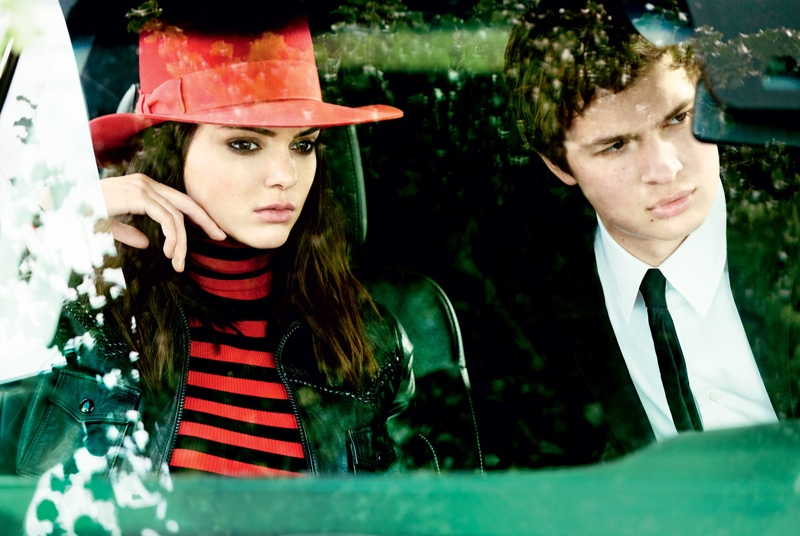 Kendall Jenner poses with Ansel Elgort