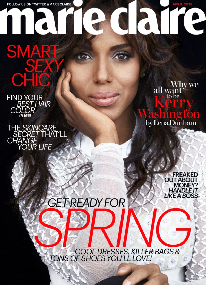 Actress Kerry Washington graces the April 2015 cover from Marie Claire.