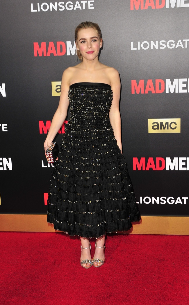 Kiernan Shipka opted for a black and ruffled Miu Miu dress. Photo: Koi Sojer / PR Photos