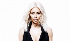 Kim shows off her platinum blonde hair in the photo shoot.