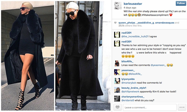 Serbian singer Jelena Karleusa says that Kim Kardashian stole her look. Photo via Instagram.