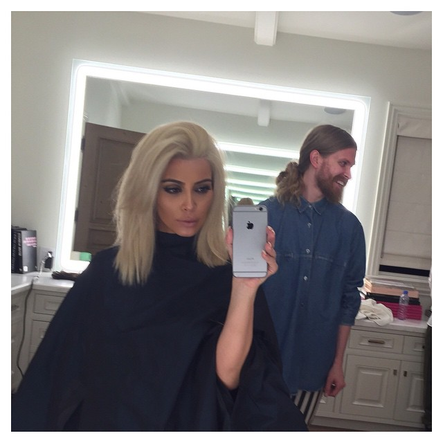 AFTER: Kim Kardashian shares an image of her platinum blonde hair post dye job. Photo: Instagram/kimkardashian.