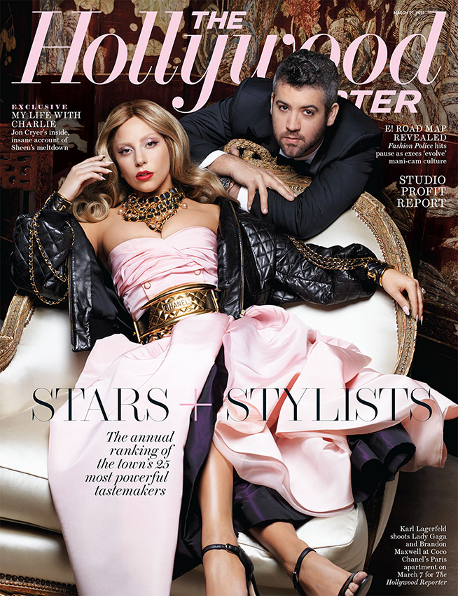 Lady Gaga poses on the March 27, 2015, cover of The Hollywood Reporter with stylist Brandon Maxwell.