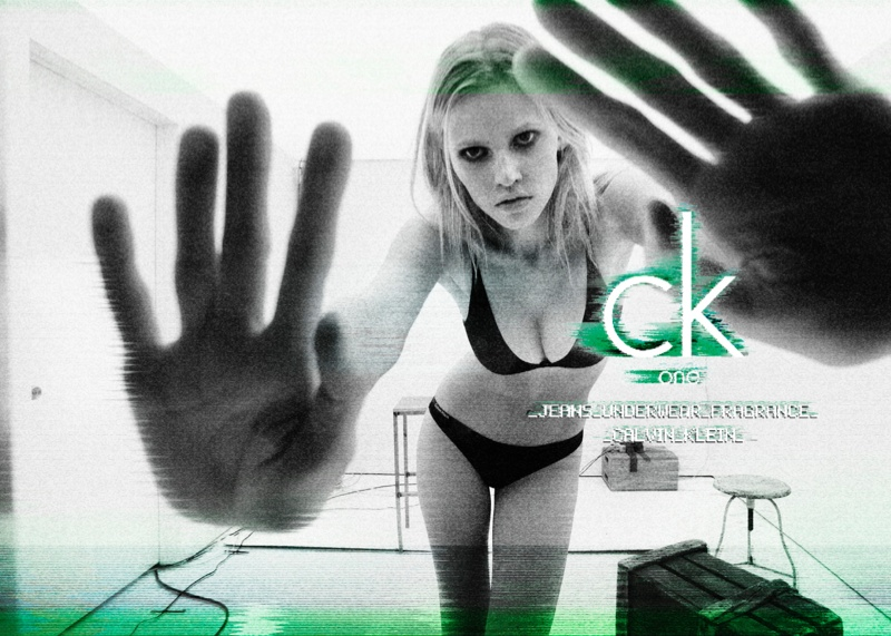 A 2011 CK One ad for Calvin Klein looked like nothing unusual until people pointed out that  it looked to spell the word, F***. The table makes an F with her bra shaped in a U and CK at the end. Photo by Steven Meisel.