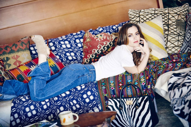 Leighton channels 1970s, bohemian inspired style for the shoot.