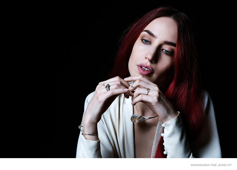 Daughter of Mick Jagger, Lizzy Jagger, poses for ManiaMania's new Fine Jewelry campaign.