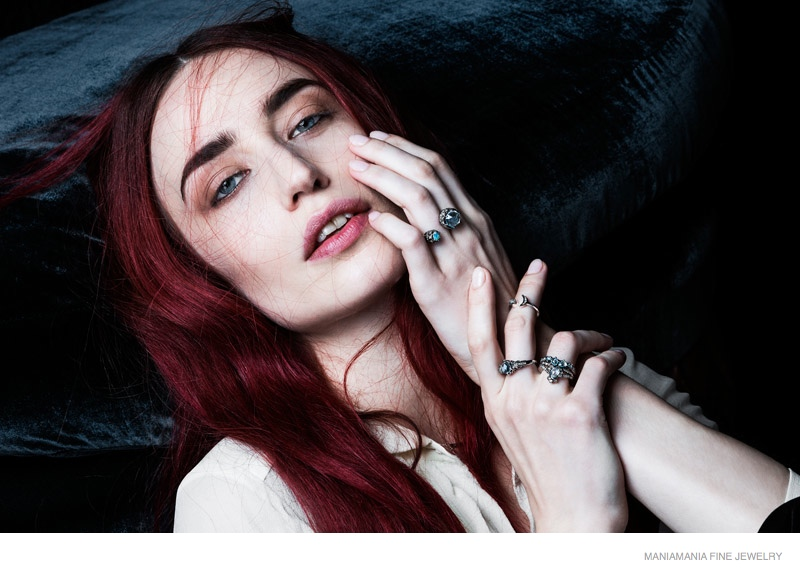 Lizzy Jagger models ManiaMania's Fine Jewelry collection.