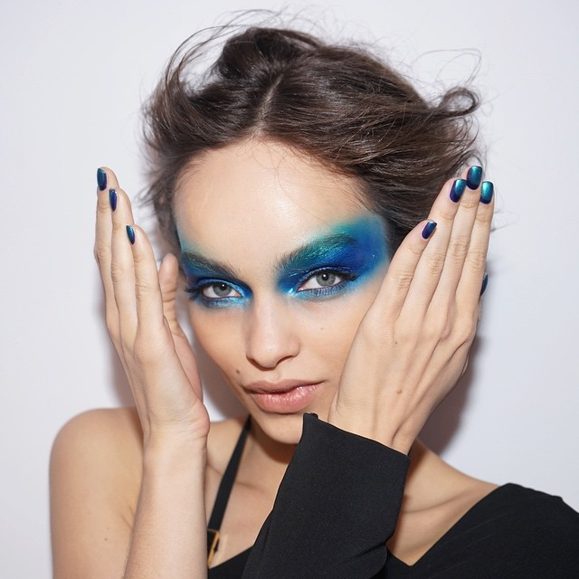 New L'Oreal Paris spokesmodel Luma Grothe rocks blue eyeshadow look in image for the cosmetics company. Photo via L'Oreal.