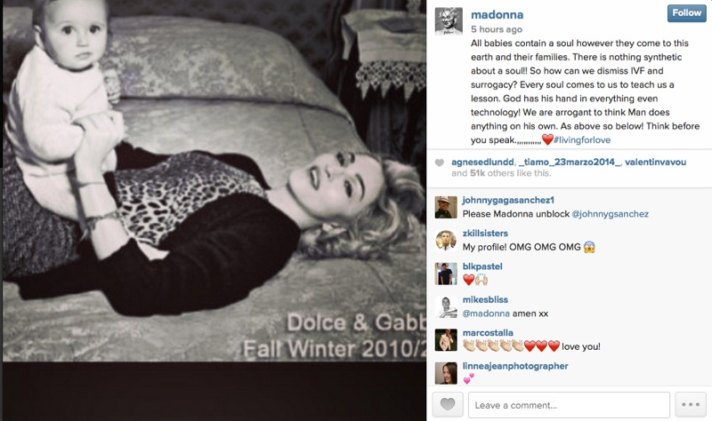 Former Dolce & Gabbana campaign star Madonna has voiced her opinion on the IVF comments.