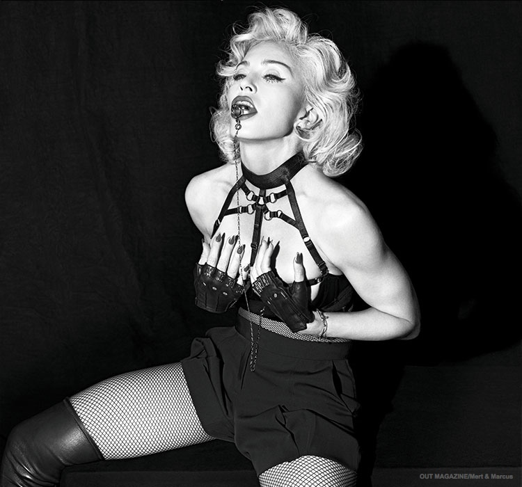 Posing in bondage themed images, Madonna wears leather and lingerie inspired looks for the shoot.