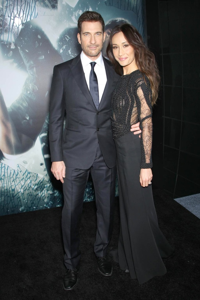 Maggie Q wore a black Zuhair Murad dress to the event. She poses with her fiance Dylan McDermott.