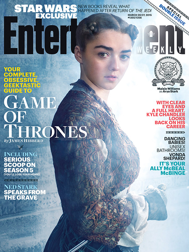 Maisie Williams channels her role of Arya Stark on Entertainment Weekly March 20, 2015, cover