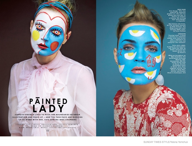 Guinevere Van Seenus Wears Bold Face Paint for Sunday Times Style