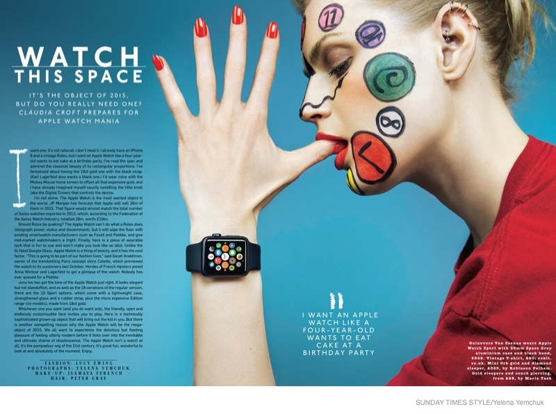 The bold face paint channels the watch theme of the feature.