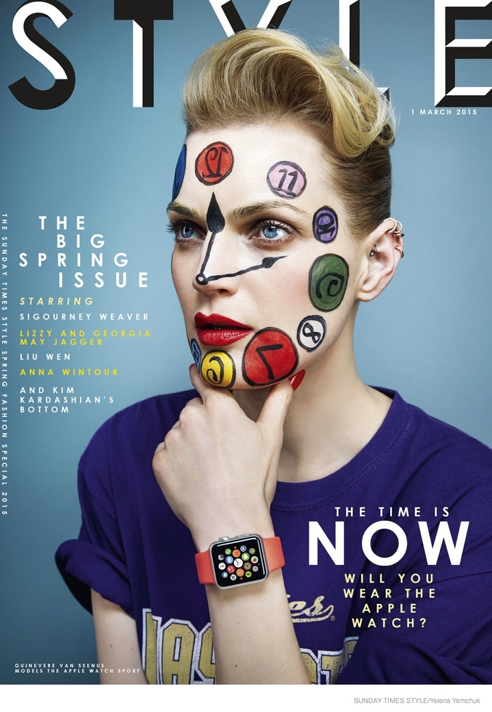 Guinevere Van Seenus covers the March 1, 2015, issue of Sunday Times Style wearing an Apple Watch.